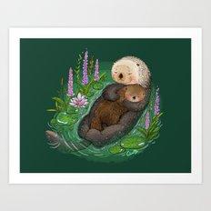 Sea Otter Mother & Baby Art Print