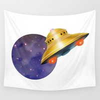 ufo Wall Tapestries featuring UFO & Universe by FACTORIE