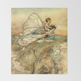"""Bear the Changeling to My Bower"" Art by Arthur Rackham Throw Blanket"