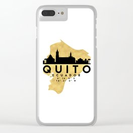 QUITO ECUADOR SILHOUETTE SKYLINE MAP ART Clear iPhone Case