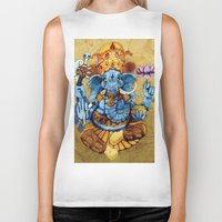 ganesh Biker Tanks featuring Ganesh by RICHMOND ART STUDIO