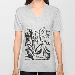 Birds white and black drawing illustration Unisex V-Neck