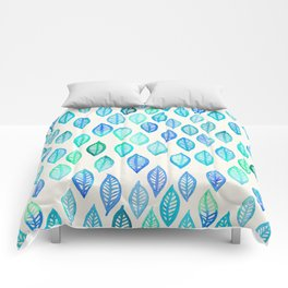 Watercolor Leaf Pattern in Blue & Turquoise Comforters