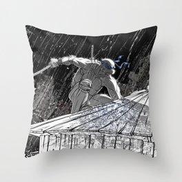 Black and White Ninja Turtle Leonardo Throw Pillow