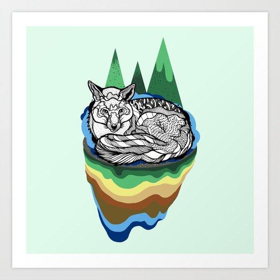 Snuggly fox Art Print