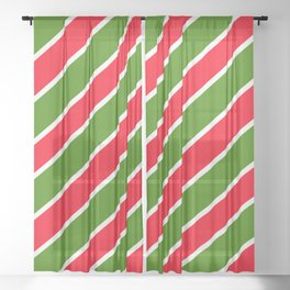 TEAM COLORS ONE RED,GREEN,WHITE Sheer Curtain