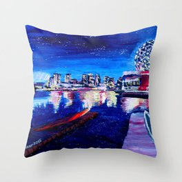 Vancouver skyline at starry night Throw Pillow