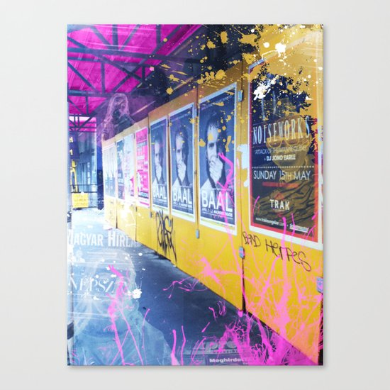 purple and yellow _  little burke graffiti Canvas Print