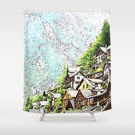 Austria - drawing Hallstatt Shower Curtain