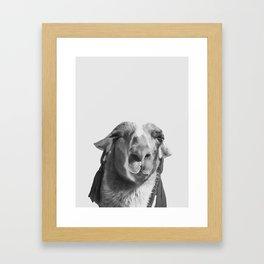 Who's a pretty girl? black and white Framed Art Print