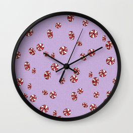 Peppermint Candy in Purple Wall Clock