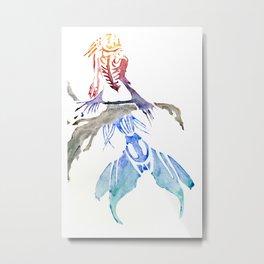 Mermaid on Rock Metal Print