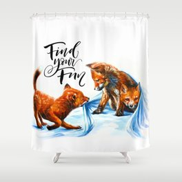 Foxes playing Shower Curtain