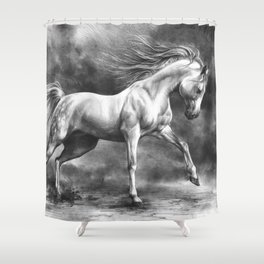 Running white horse - equine art Shower Curtain