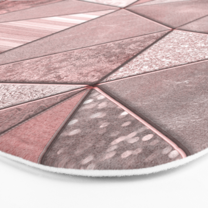 Soft Pink Coral Glamour Gemstone Triangles Bath Mat