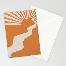 Retro Sun, Orange Sun, Stationery Cards