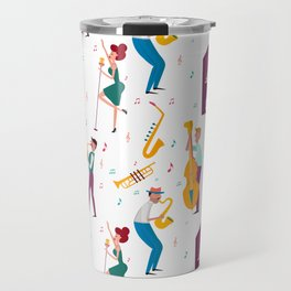 Jazz Musicians Retro Style Pattern Travel Mug