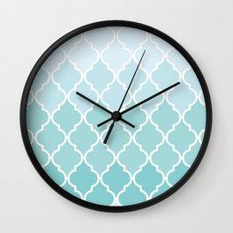 Ombre Moroccan Trellis, Latticework - Blue White Wall Clock