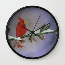Kevin the cardinal on a snowy day Wall Clock