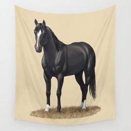 Beautiful Black Stallion Quarter Horse Wall Tapestry