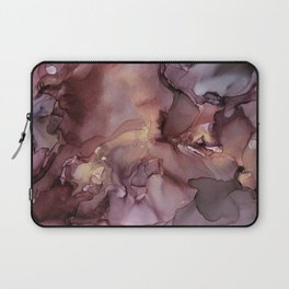 Ink Swirls Painting Lavender Plum Gold Flow Laptop Sleeve