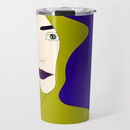 Fair Woman Drawing Blue Hair Abstract Portrait Travel Mug