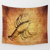 lobster Wall Tapestries featuring Marine Life - Lobster  by Lena Photo Art