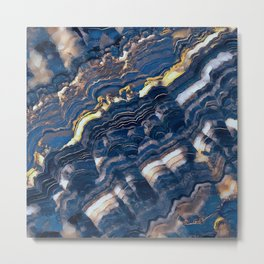 Blue marble with Golden streaks Metal Print