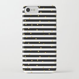 Modern black white gold polka dots striped pattern iPhone Case
