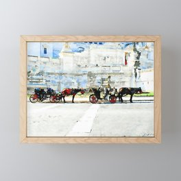 Roma: horse-drawn carriages stopped under the altar of the fatherland Framed Mini Art Print