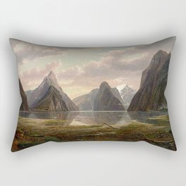 Milford Sound, New Zealand by Eu von Guerard  Romanticism  Landscape Rectangular Pillow