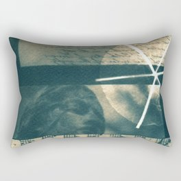 Fragments of Poetry: notes, statue, peom and flower. collage, blue print, cyanotype print, wall art Rectangular Pillow