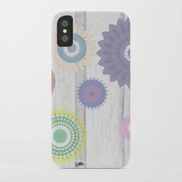 Spring Mandalas over White Wood iPhone Case