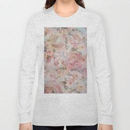 Vintage elegant blush pink collage floral typography Long Sleeve T-shirt