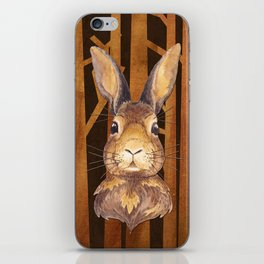 Rabbit in the forest - abstract animal hare watercolor illustration iPhone Skin