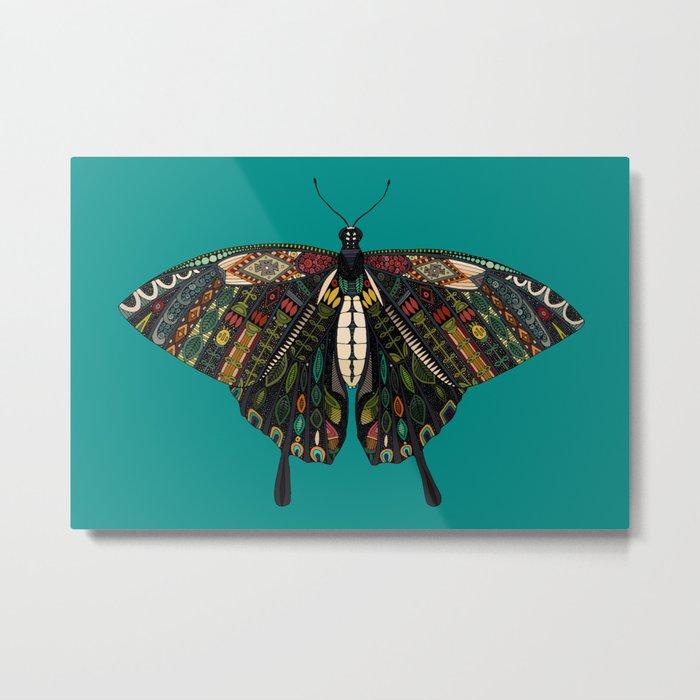 swallowtail butterfly teal Metal Print