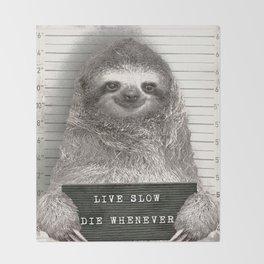 Sloth in a Mugshot Throw Blanket