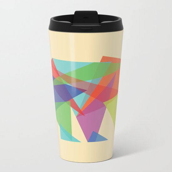 Fractal Geometric bear Metal Travel Mug