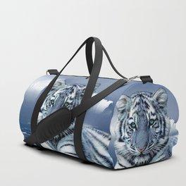 Blue White Tiger Duffle Bag