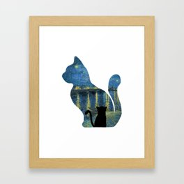 Cat Watching The Starry Night Over The Rhone - Van Gogh Painting Framed Art Print