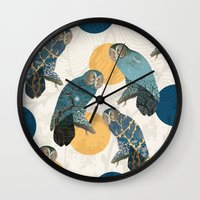 mandie manzano Wall Clocks featuring Night Owl Polka by Paula Belle Flores