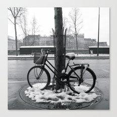 Snowy bike in Paris Canvas Print