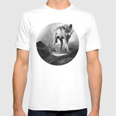 Galactic Wolf MEDIUM White Mens Fitted Tee