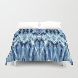 Blue Satin Shibori Argyle Duvet Cover