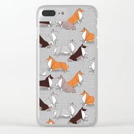 Origami Collie doggie friends Clear iPhone Case