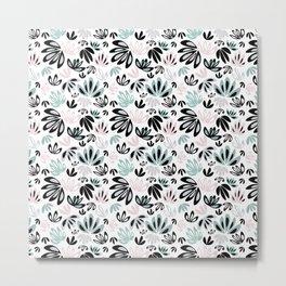 Floral Pattern in Grey, Mints and Black Metal Print