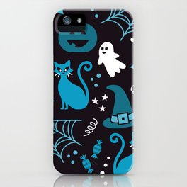 Halloween party illustrations blue, black iPhone Case