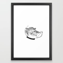 Pacific Northwest Tree Frog Riding in a China Teacup Framed Art Print