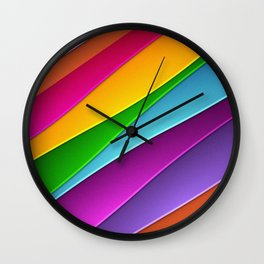 Modern Rainbow Hued curves Wall Clock