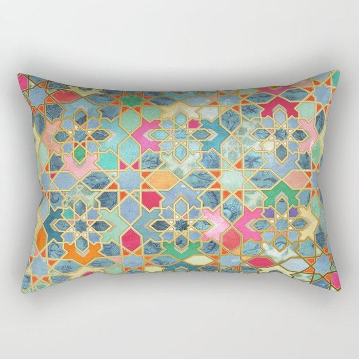 Gilt & Glory - Colorful Moroccan Mosaic Rectangular Pillow